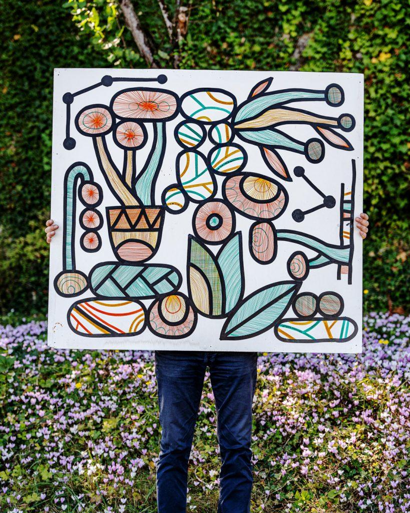 Dessin à l'encre de Chine sur fond blanc dessiné par l'artiste Cécile Jaillard aka Cécilio. Encre de couleurs orange et verte.